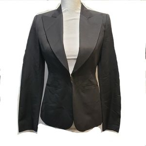 GUCCI Black Fitted Gold Waist Clasp Blazer, 38